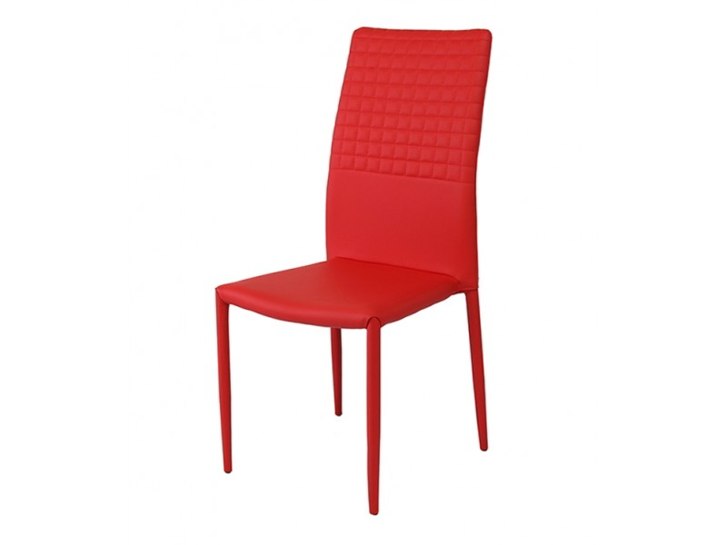 Cuba stackable faux leather red dining chair for Stackable dining room chairs