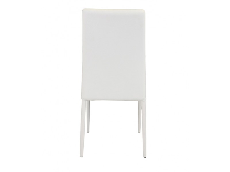 ... Cuba Stackable Dining Chair PU Faux Leather White