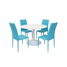 Snow Round Dining Table with a Set of 4 Cuba Dining Chairs