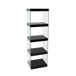 Moda Glass and High Gloss Black Shelving Display Unit