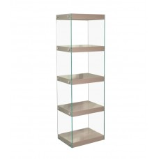 Moda Glass and High Gloss Mink Grey Shelving Display Unit