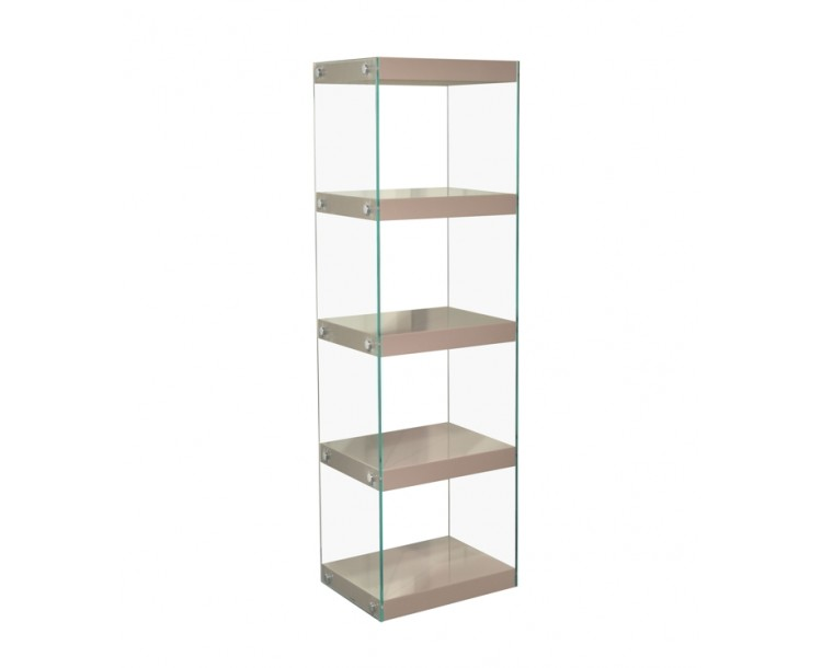 Moda Glass Display Shelving Units Mink Grey High Gloss