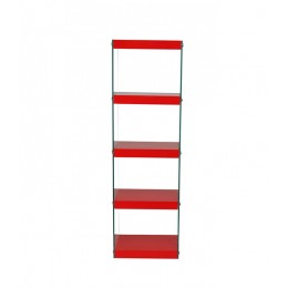 Moda Glass and High Gloss Red Shelving Display Unit