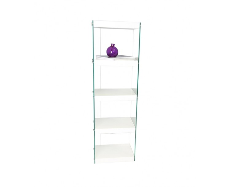 Charmant Moda Glass And High Gloss White Shelving Display Unit ...