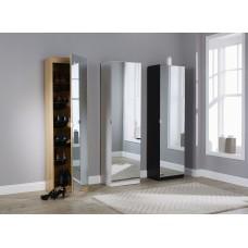 Modern Mirrored Design Shoe Cabinet in Black 150 cm