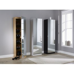 Modern Mirrored Design Shoe Cabinet in White 150 cm