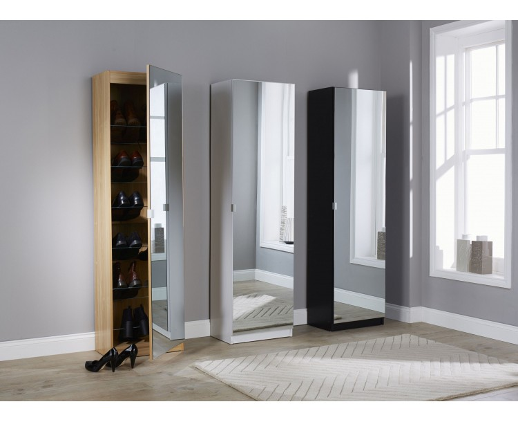 Modern Mirrored Design Shoe Cabinet in Black 180 cm