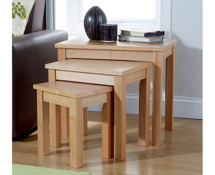 Royal Oak Contemporary Wooden 3 Tier Nest Of Tables