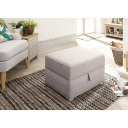 Light Grey Hopsack Dauphine Square Storage Footstool
