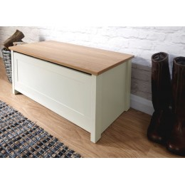 Cream Lancaster Contemporary Ottoman Storage Box