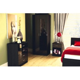Madrid High Gloss Black & Black Oak Three Piece Bedroom Collection