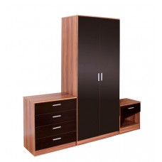 Madrid High Gloss Black & Walnut Three Piece Bedroom Collection