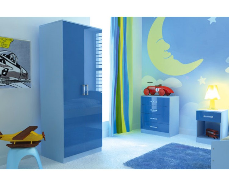 Madrid High Gloss Two Tone Blue Three Piece Bedroom Collection