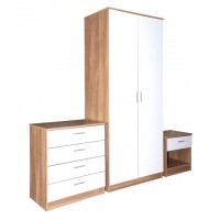 Madrid High Gloss White & Oak Veneer Three Piece Bedroom Collection
