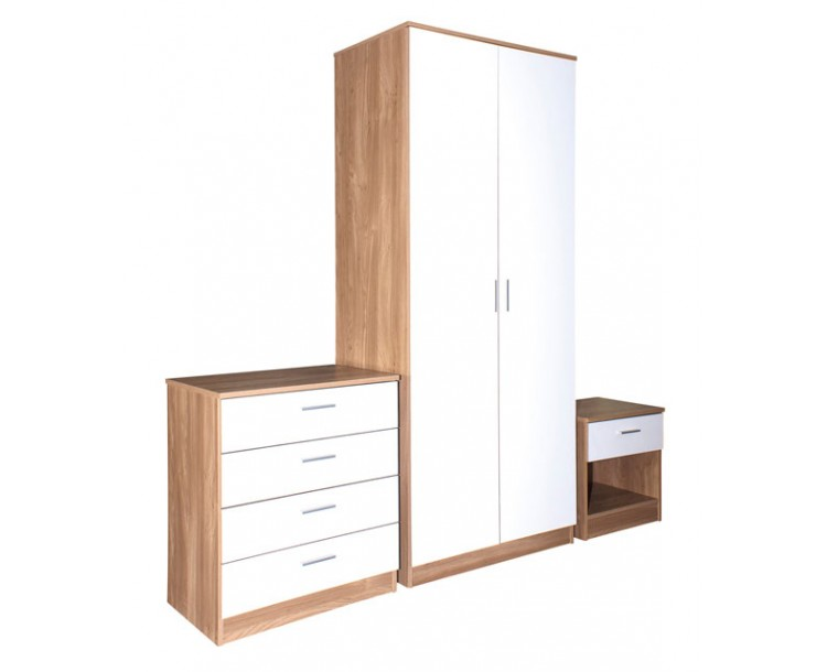 madrid high gloss white oak veneer 3 piece bedroom collection. Black Bedroom Furniture Sets. Home Design Ideas