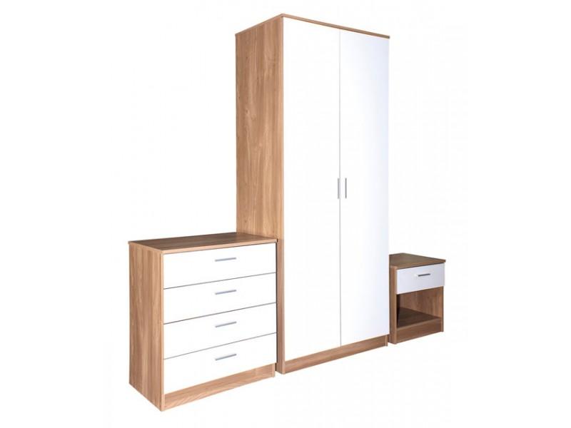 Madrid High Gloss White U0026 Oak Veneer Three Piece Bedroom Collection