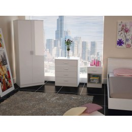 Madrid High Gloss Two Tone White Three Piece Bedroom Collection