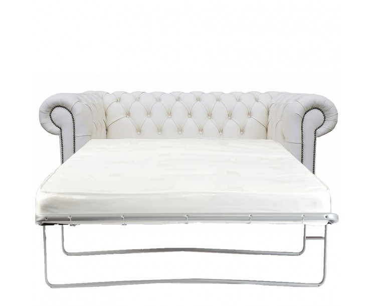 Chesterfield Two Seater Sofa Bed 100% Genuine Leather Shelly White