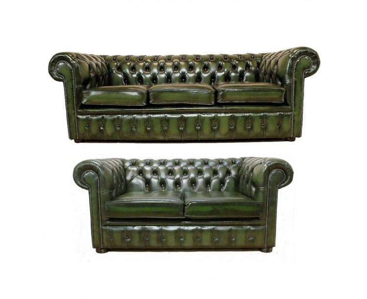 Chesterfield Three & Two 100% Genuine Leather Seater Sofa Suite
