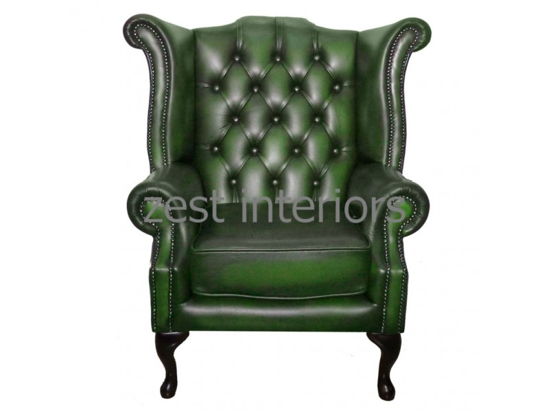 Chesterfield Genuine Leather Antique Green Queen Anne Armchair