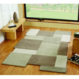 Abstract Stone Collage 100% Wool Modern Living Room Rug