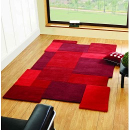Abstract Red Collage 100% Wool Modern Living Room Rug
