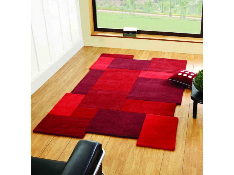 abstract red collage 100 wool modern living room rug