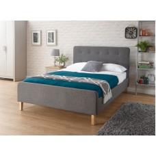 Grey Hopsack Fabric Bed stead 3ft Ashbourne upholstered
