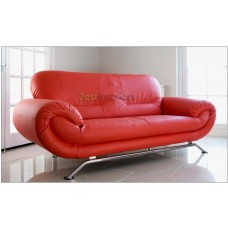 Florence Three Seater Sofa Red Faux Leather with Chrome Finish Legs
