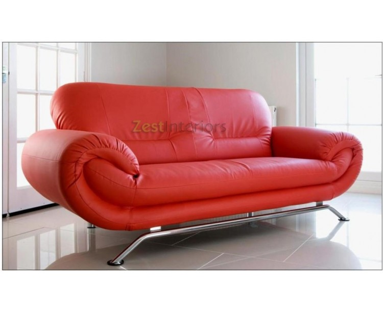 Florence Red Two Seater Sofa Faux Leather Modern Design
