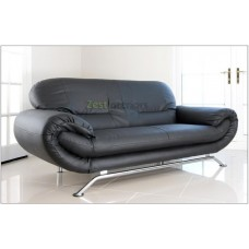Florence Three Seater Sofa Black Faux Leather with Chrome Finish Legs