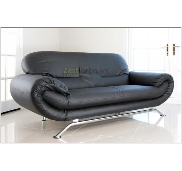Florence Black 2 Seater Faux Leather Modern Sofa