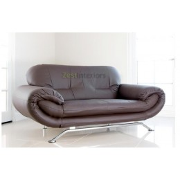 Florence Three Seater Sofa Brown Faux Leather with Chrome Finish Legs