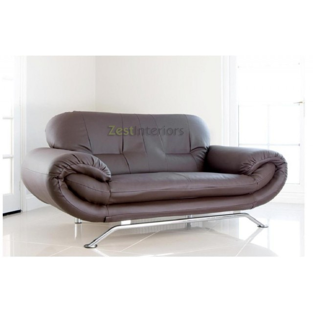 Florence Brown 2 Seater Faux Leather Modern Sofa
