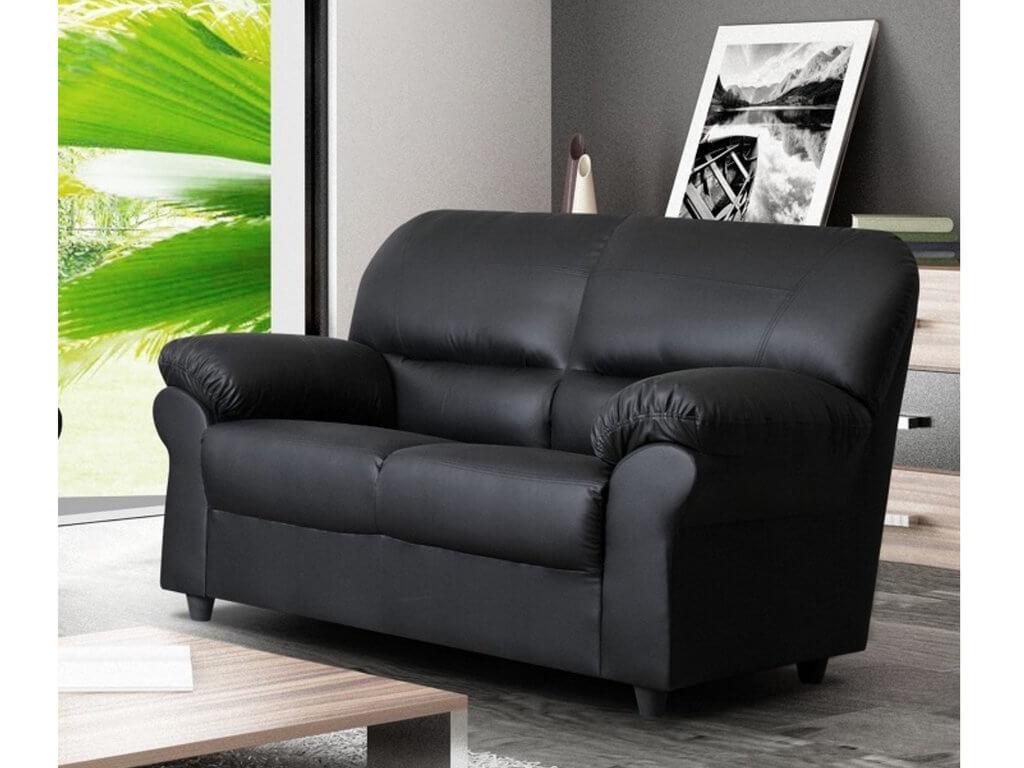 Polo Black 2 Seater High Quality Faux Leather Sofa