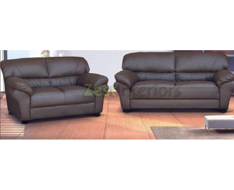 Polo Three & Two Seater Sofa Set Brown Faux Leather