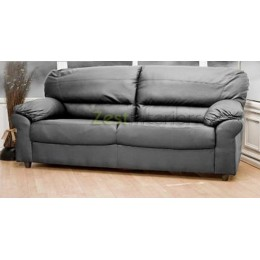 Polo Three Seater High Quality Black Faux Leather Sofa