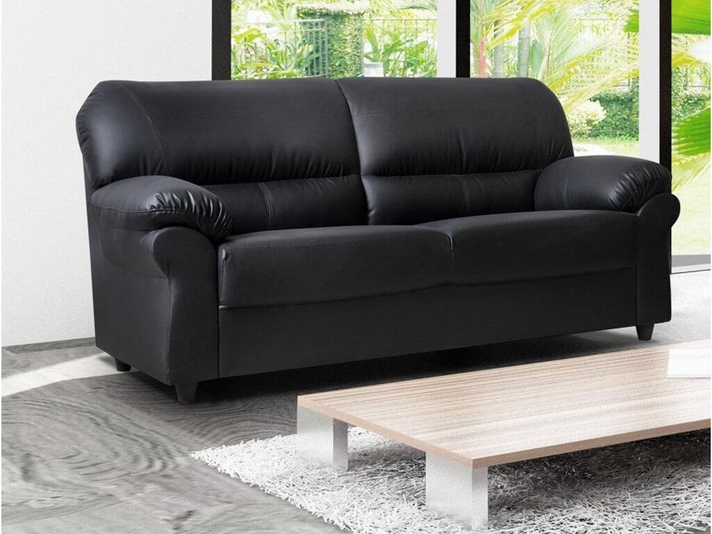 Polo Black 3 Seater High Quality Faux Leather Sofa