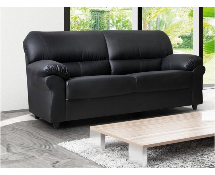 Polo Black 3 Seater High Quality Faux Leather Sofa