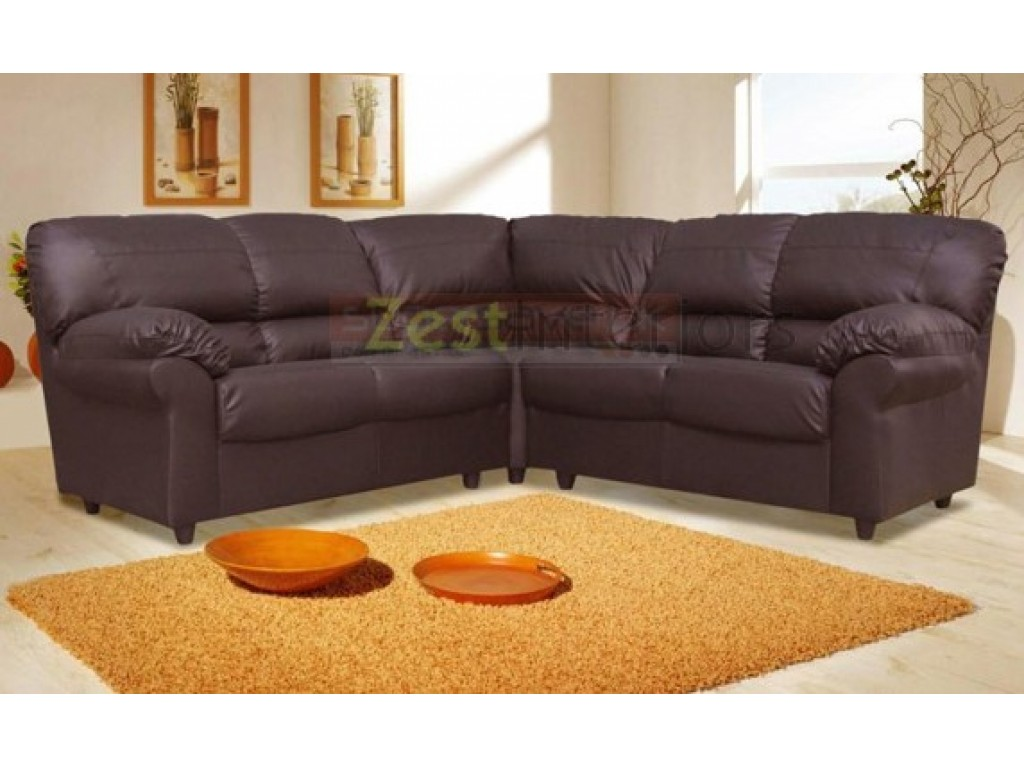 Polo Large Corner High Quality Brown Faux Leather Sofa