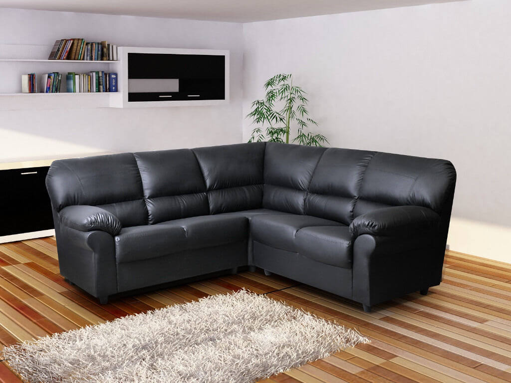 Awesome Polo Large Corner Sofa High Quality Black Faux Leather Gmtry Best Dining Table And Chair Ideas Images Gmtryco