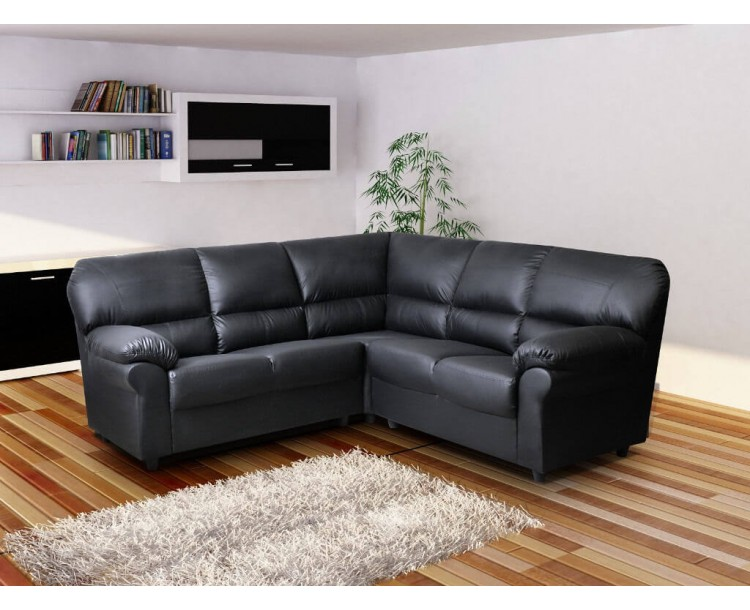 Polo Large Corner Sofa High Quality Black Faux Leather