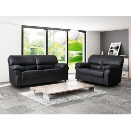 Polo Three & Two Seater Sofa Room Set High Quality Black Faux Leather