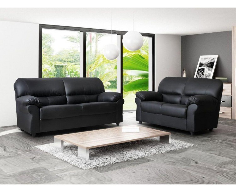 Polo Three & Two Black Faux Leather Sofa Room Set