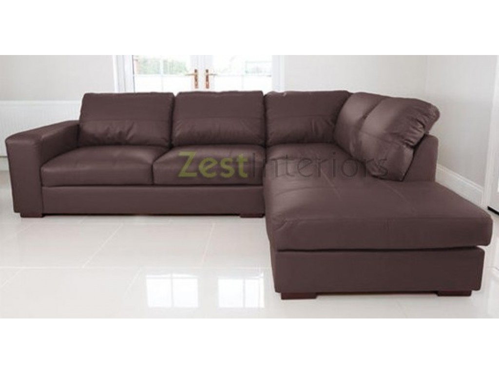 Venice Right Hand Corner Sofa Brown Faux Leather w/ Chaise Lounge