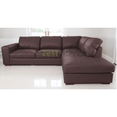 Venice Right Hand Large Corner Sofa Brown PU Leather with Chaise Lounge