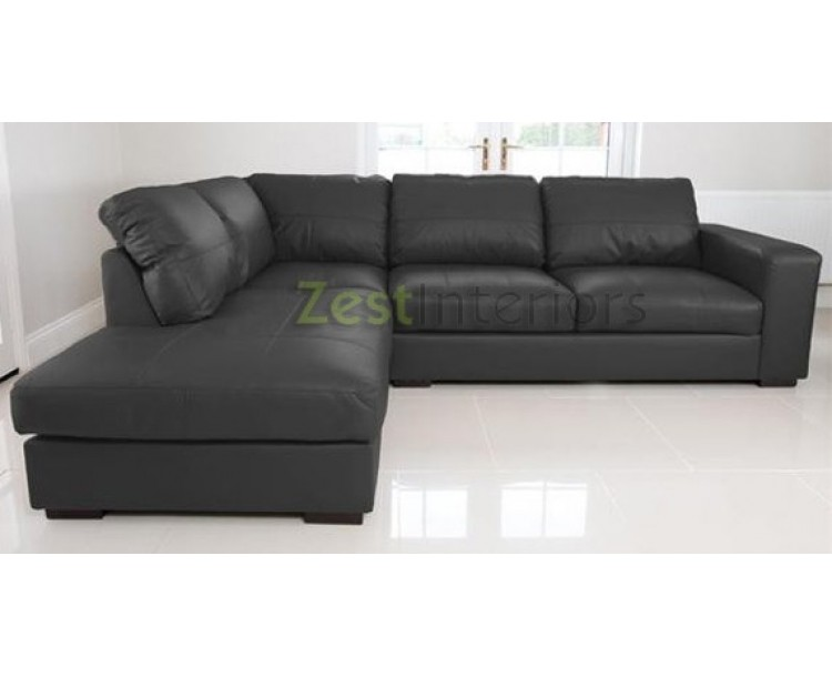 Venice Left Hand Large Corner Sofa Black Faux Leather with Chaise Lounge ...  sc 1 st  Zest Interiors : left hand chaise lounge - Sectionals, Sofas & Couches