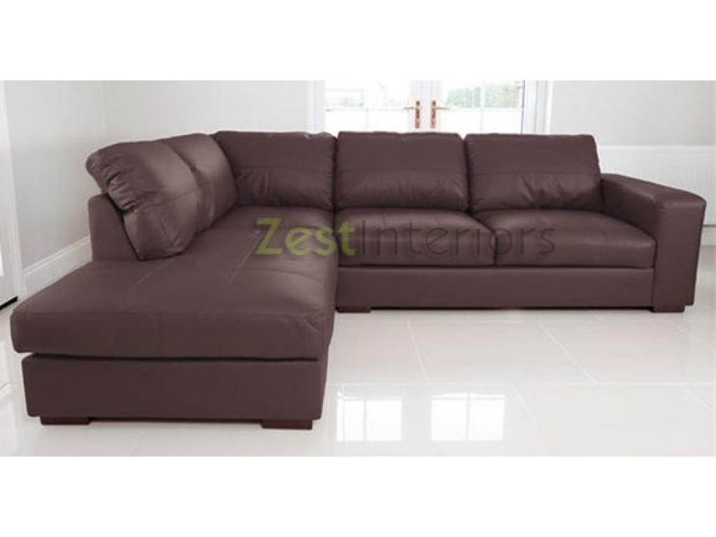Venice Left Hand Corner Sofa Brown Faux Leather w/ Chaise Lounge