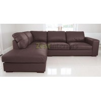 Venice Left Hand Large Corner Sofa Brown PU Leather with Chaise Lounge