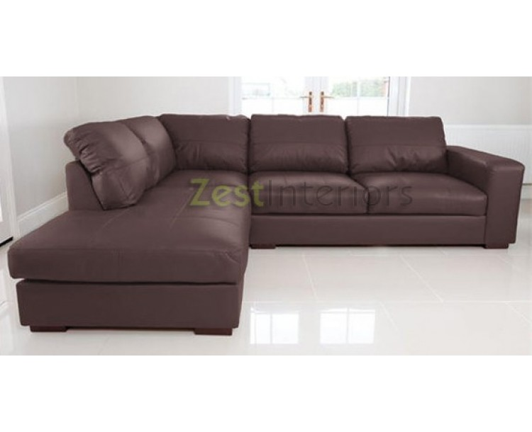 Venice left hand corner sofa brown faux leather w chaise for Brown leather chaise end sofa